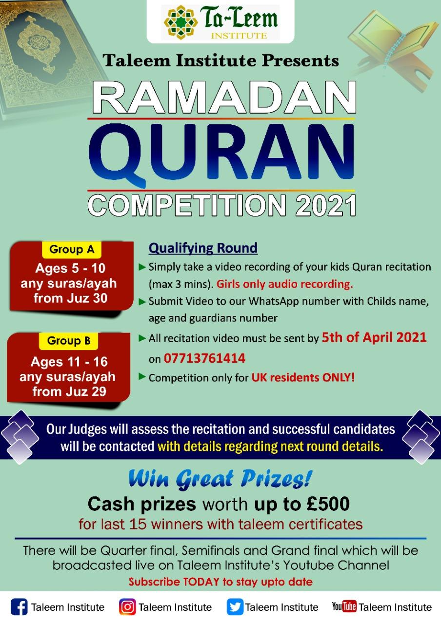 Taleem Ramadan Quran Competition 2021