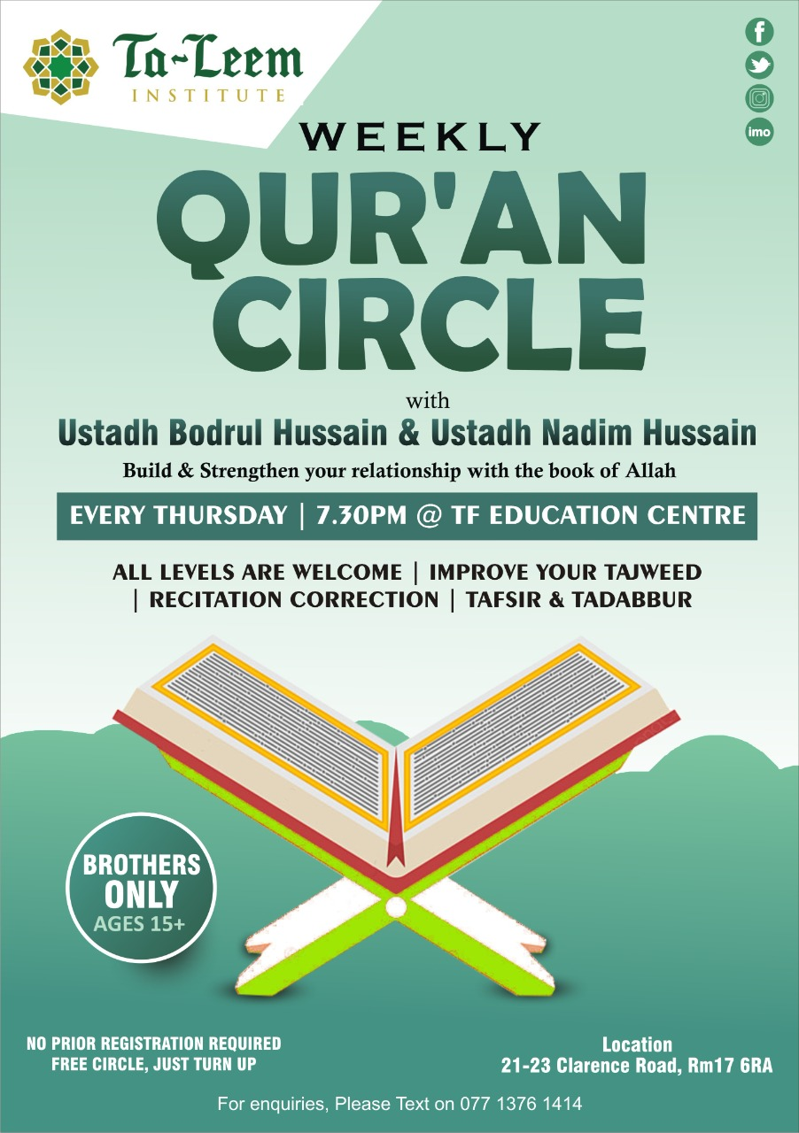 Weekly Quranic Circle For Brothers